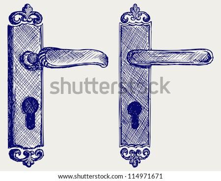 Door handle. Doodle style. Raster version