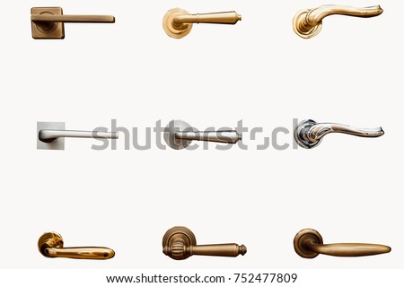Door handle. Handls on isolated white background