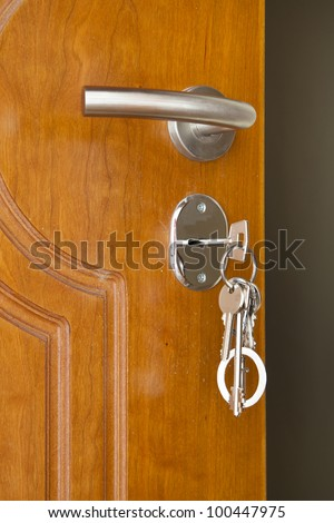 door handle with inserted key in the keyhole - stock photo