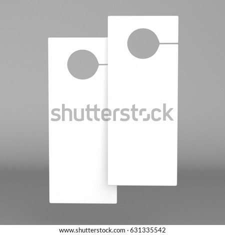 Shutterstock Door hanger flyer white tags for room in hotel, resort, home isolated on grey background for design template. Highly detailed 3d render illustration.