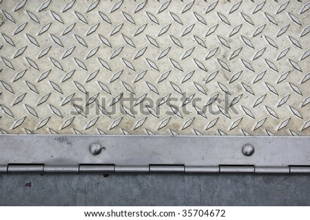 door hinge and dimond metal surface / abstract industrial background /