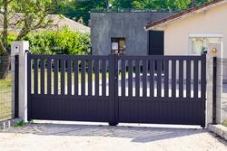 door home grey aluminum house portal panel in street view