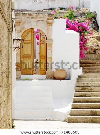 door in Lindos- island Rhodes, Greece , Europe / mediterranean stair /