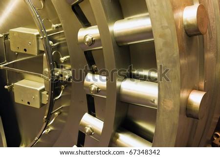 Door in old bank safe deposit room