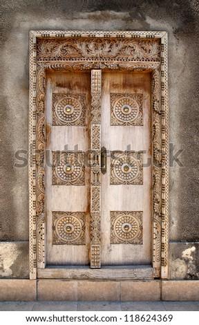 Door in Stone Town, Zanzibar, Tanzania - a UNESCO heritage