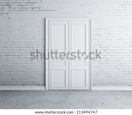 door in the brick white  wall