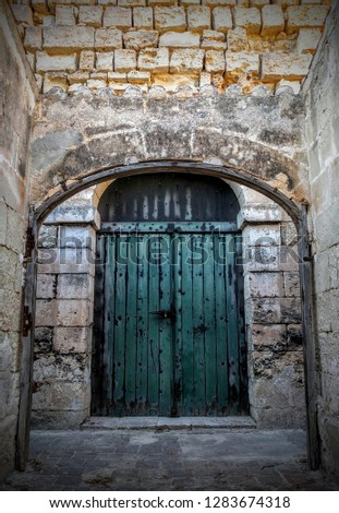 Door in the fortress of La Mola, s.XIX, Mahón, Menorca, Balearic Islands, Mediterranean, eastern Spain. Foto stock ©