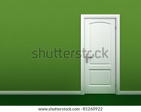 door in the green wall