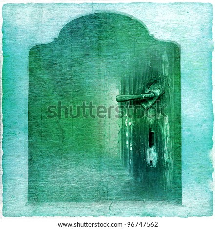 Door in the wall,on grunge green background