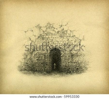 door in the wall. pencil on...