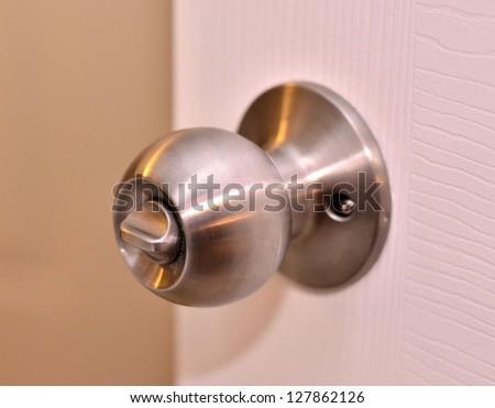 Door knob on the door