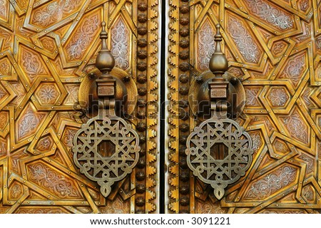 Door knock of moroccan royal palace in fez
