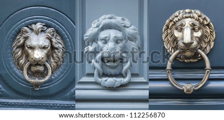 Door knockers made as lions heads
