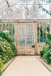 Door leading out of greenhouse in victorian botanical gardens in Belfast