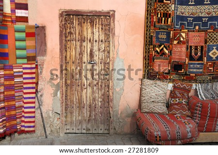 Door next to carpet shop in the Medina of  Marrakesh,Morocco