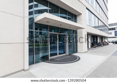 Door of a new contemporary office building