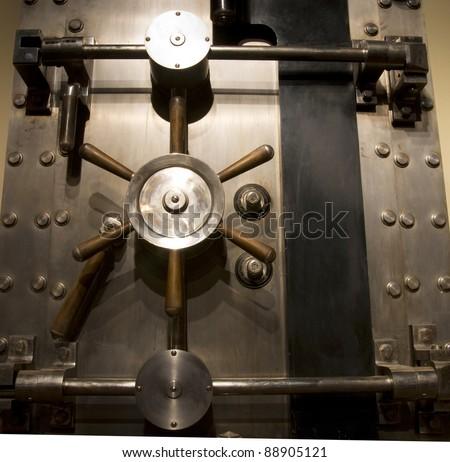 Door of a Vintage Locked Safe in a Bank Vault Retail Security