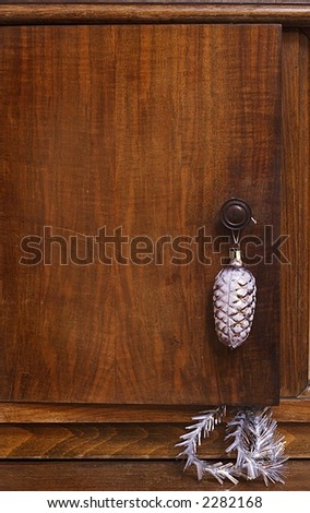 Door of an ancient case with New Year's ornaments