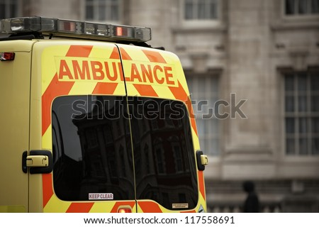 Door of the emergency ambulance car - selective focus