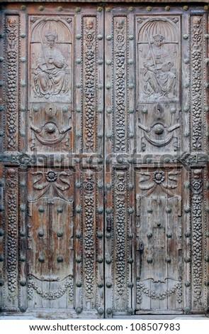"Door of the ""Jewish House"" in Cordoba - Spain - stock photo"