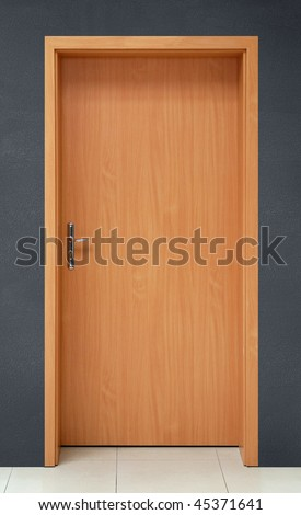 door on gray wall background