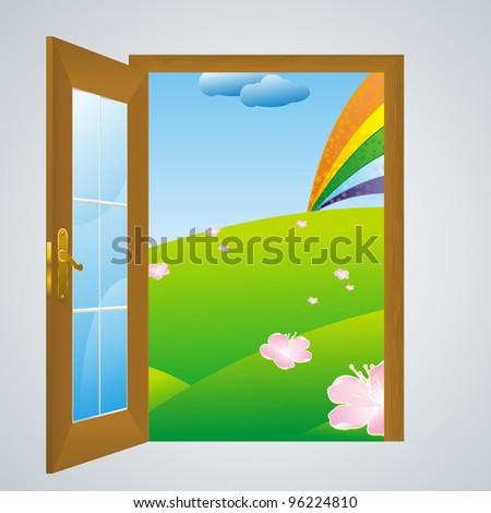 door open into summer into flowering meadow with rainbow in the sky