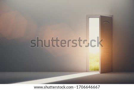 Door open to new better world, positive optimistic future. Hope concept. 3D illustration Foto stock ©