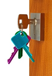 Door open with keys color in lock , isolated with Clipping Path inclusive