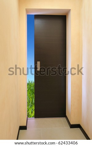 Door opened  to  a green field and blue sky