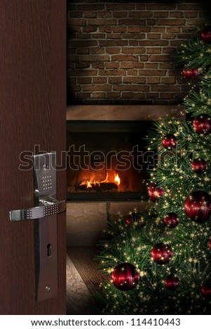 Door opening into a room decorated for Christmas