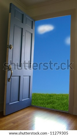 Door opening to green grass and blue sky
