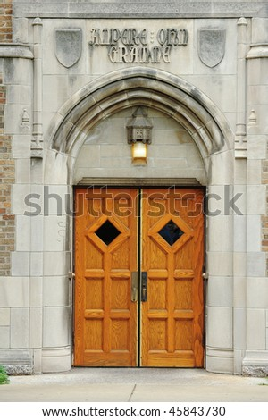 Door to administration building of University of Notre Dame, Indiana
