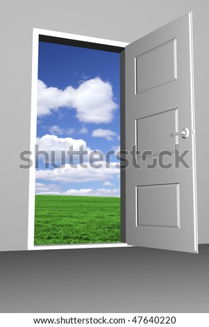 Door to bright new world - stock photo