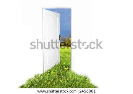 Door to new world. Easy editable image.