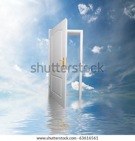 Door to new world. Open door in sky conceptual. Other original versions of this concept available in my portfolio.