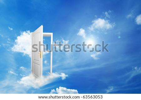 Door to new world. Open door on cloud conceptual. Other original versions of this concept available in my portfolio.
