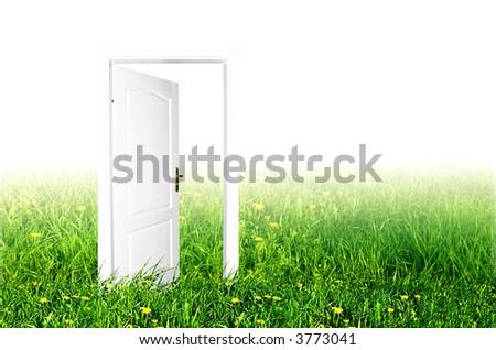 Door to the new world. Easy editable image