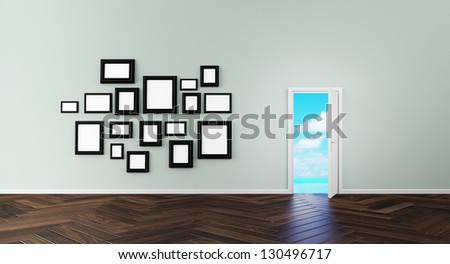 door wall and picture frame