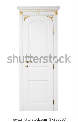 door with a golden ornament on a white background - stock photo