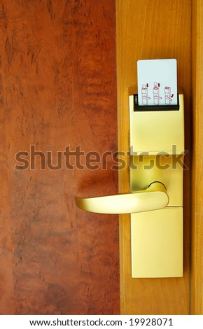 Door with security card at the resort in exotic country.