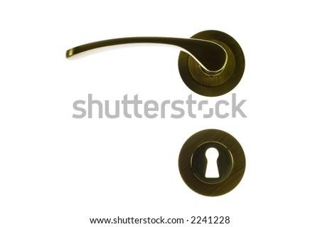 doorknob and metallic keyhole isolated on white background
