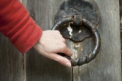 doorknocker on old church door