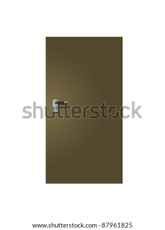Doors and door handles isolated on white