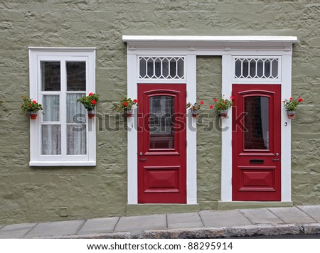 Doors and window of historical house in Quebec City