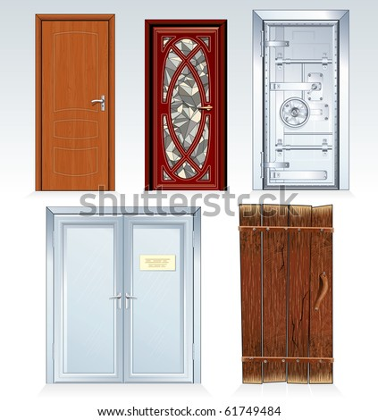 Doors Collection -inc wooden door, front door, vault door, office doors, obsolete rural door.(similar vector version id=61748353) - stock photo