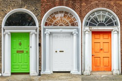 Doors in Dublin, green, white and orange, irish flag colors, Ireland