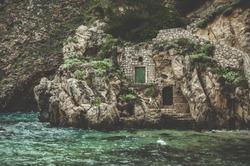 Doors in the rockface of Fort Lovrijenac in Dubrovnik, Croatia