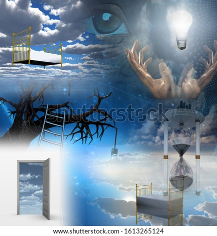 Doors of perception in surreal dream. 3D rendering