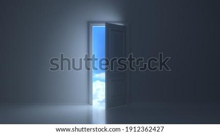 Doors opening to reveal beautiful sky in dark grey room. 3D render Photo stock ©