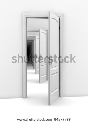 doorway abstract illustration - opportunity, frustration, infinity 3d concept